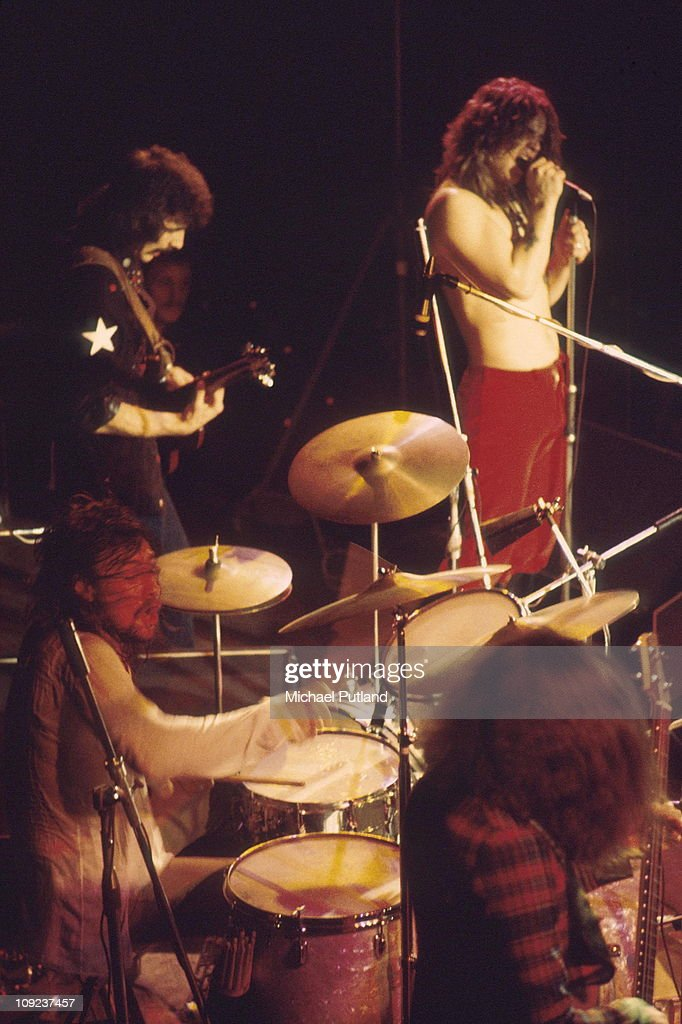 Black Sabbath perform on stage, London, 1974, L-R Bill Ward, Tony Iommi, Ozzy Osbourne, Geezer Butler.