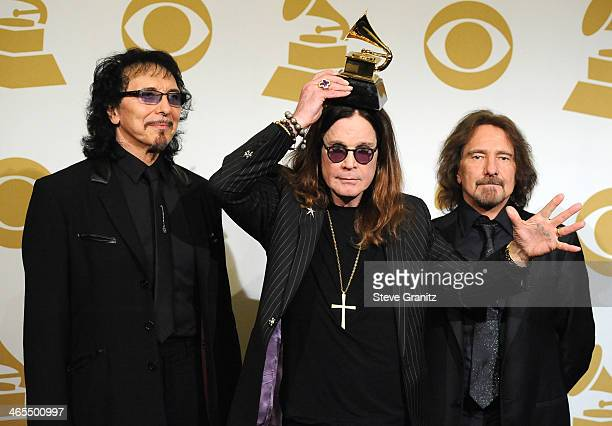 Black Sabbath poses at the 56th GRAMMY Awards on January 26 2014 in Los Angeles California