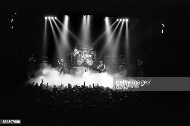 Black Sabbath rock group in concert during their Heaven and Hell tour Members are Ronnie James Dio on vocalsTony Iommi on guitar Geezer Butler on...