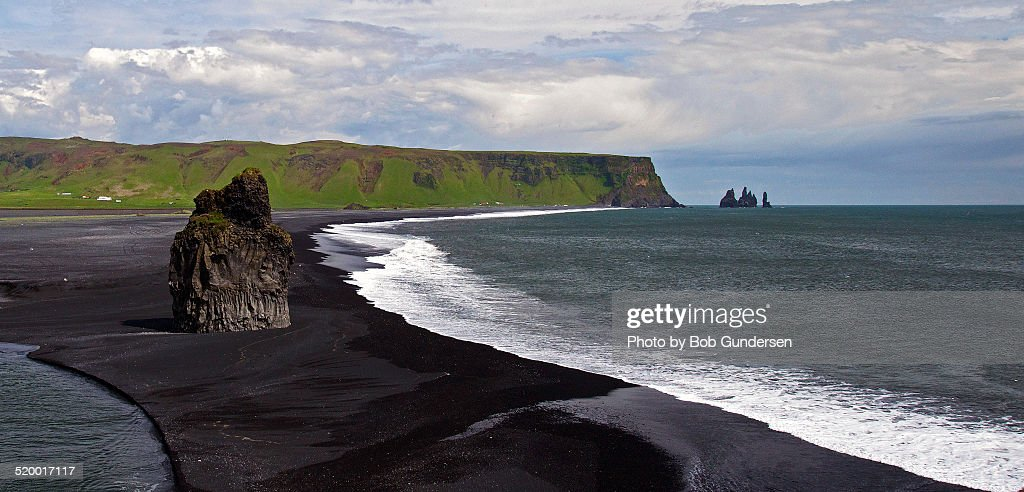 black sand beach and stacks at vik iceland stock photo. Black Bedroom Furniture Sets. Home Design Ideas