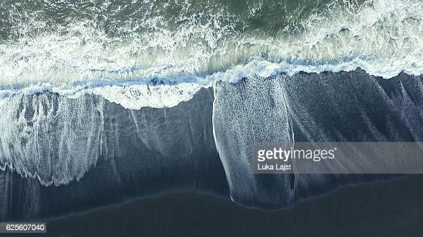 black sand beach at iceland