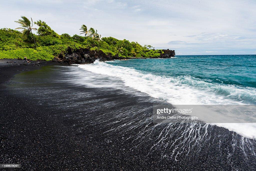 Black Sand beach at Road to Hana : Stock Photo