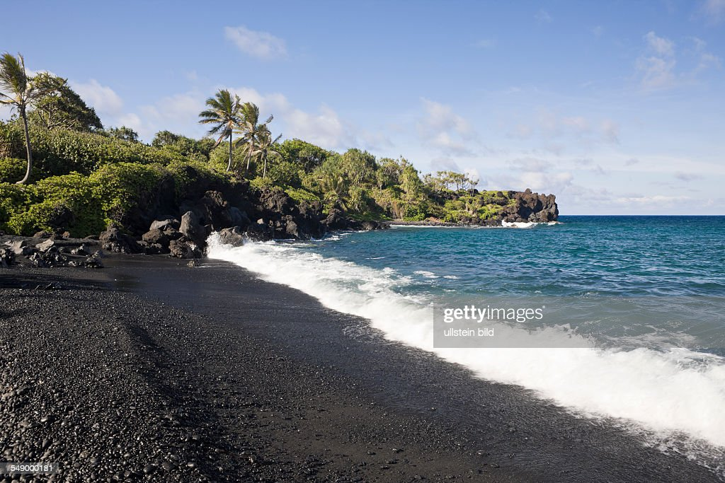 Black Sand Beach At Waianapanapa State Park On Road To Hana Maui Hawaii