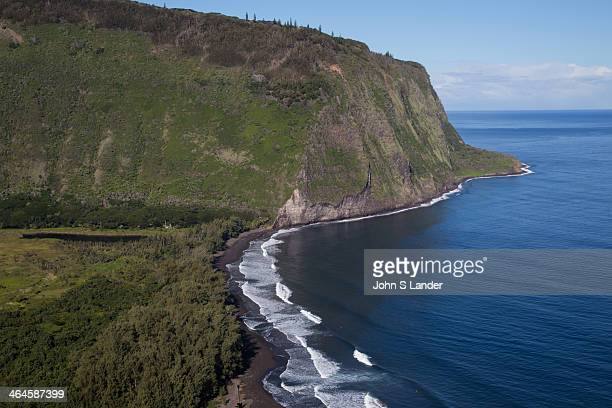 Black Sand Beach at Waipio Valley the residence of early Hawaiian kings A steep road leads down into the valley from a lookout point one of the...