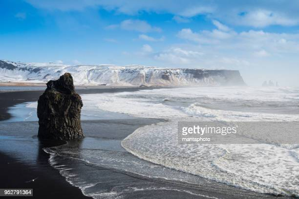 black sand reynisfjara beach and rocks, vik,iceland - basalt stock pictures, royalty-free photos & images
