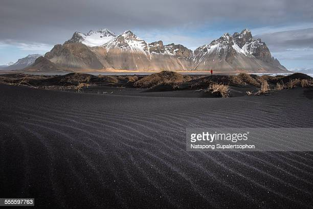 Black sand texture and famous Vestrahorn