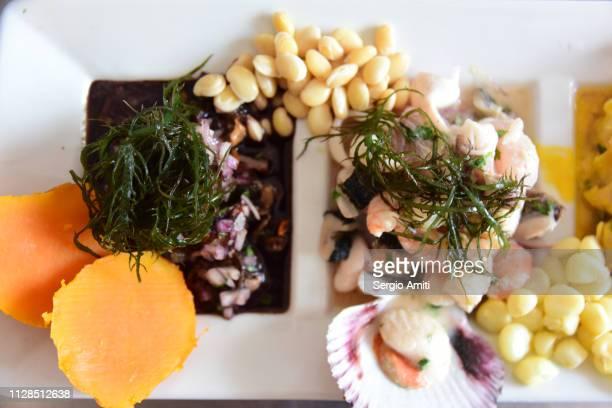 black scallops and prawns ceviche - comida peruana fotografías e imágenes de stock