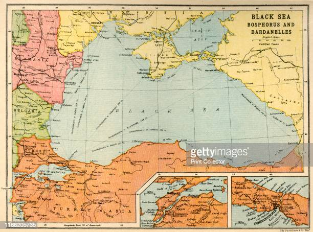 Bosphorus and Dardanelles circa 1914 Map of the Black Sea and parts of surrounding countries at the start of the First World War showing Russia and...