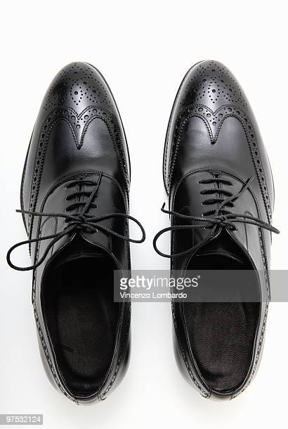 Black Shoes on White Background