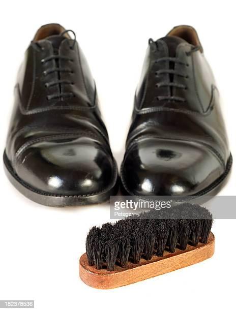 Black Shoes with Polishing Brush