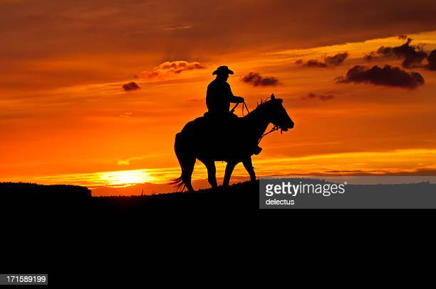 black silhouette of a cowboy riding a horse at sunset - wild west stock pictures, royalty-free photos & images
