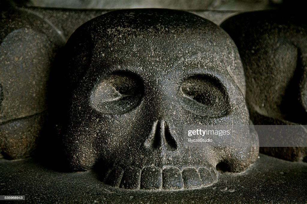 Black Skull Hell Death Fear Danger Evil Curse Spooky Archeology : Stock Photo