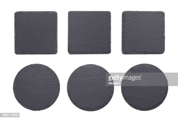 black slate stone coaster - slate rock stock photos and pictures