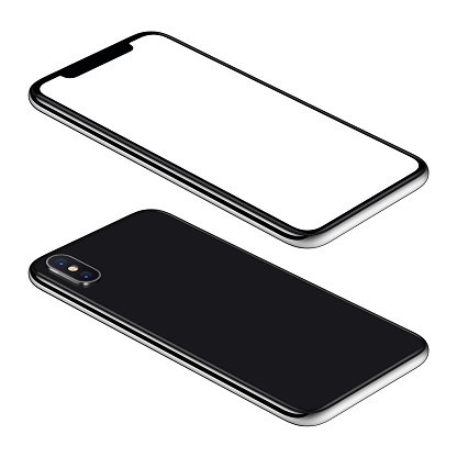 Black smartphone mockup front and back sides isometric view CCW rotated lies on surface 980702426