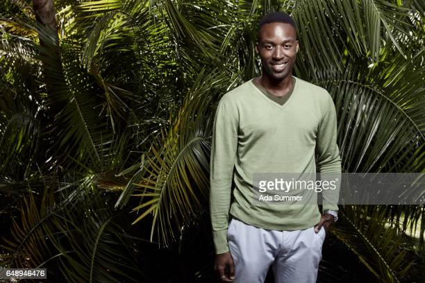 black smiling business man in front of palm trees - vネック ストックフォトと画像