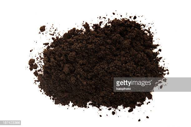 black soil on white - dirt stock pictures, royalty-free photos & images