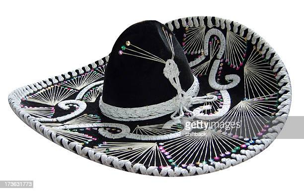 Black sombrero over white background
