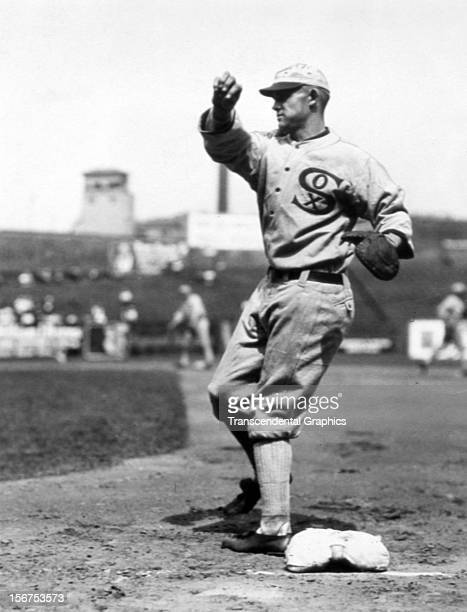 Black Sox conspirator Chick Gandil takes some throws at first base before a game in 1919 at Comiskey Park in Chicago Illinois