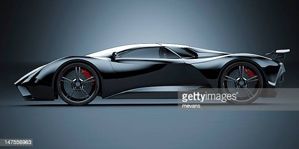 black sports car - racing car stock pictures, royalty-free photos & images