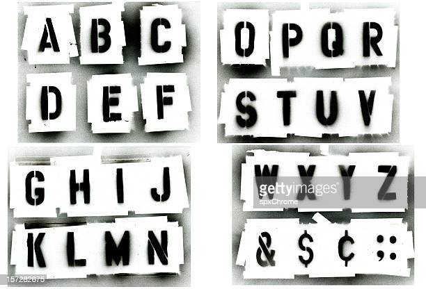 Black spray painted stencil alphabet set