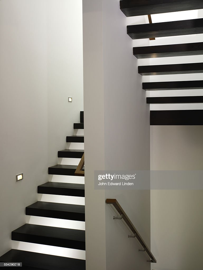 Black Stair Treads In Stairwell : Stock Photo