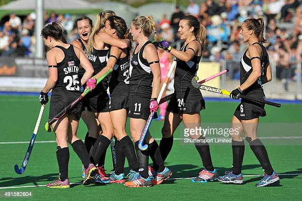 Black Sticks celebrate the goal from Gemma Flynn during the International hockey Test match between New Zealand and Argentina on October 6 2015 in...