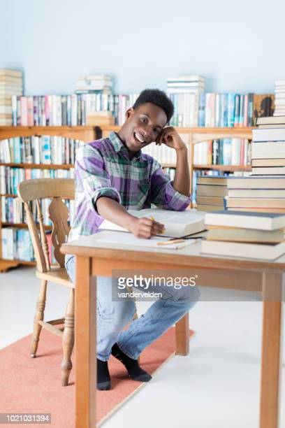 Black student researching