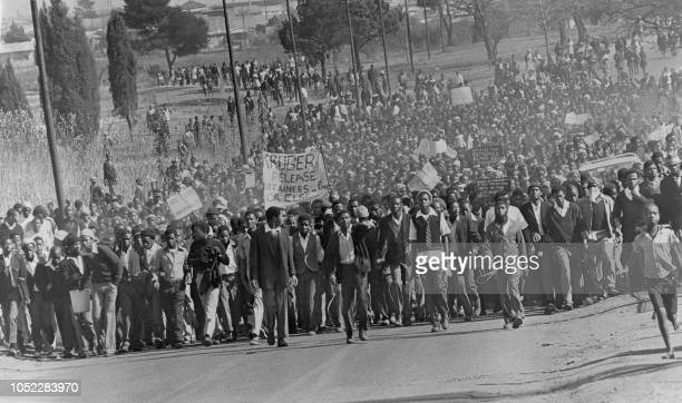 Black students demonstrate in protest against having to use Afrikaans language at school in Soweto in August 1976 After violent clashes in Soweto in...