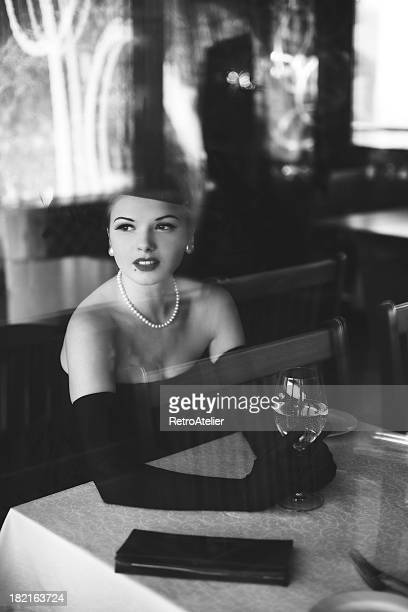 noir style.waiting - vintage restaurant stock pictures, royalty-free photos & images