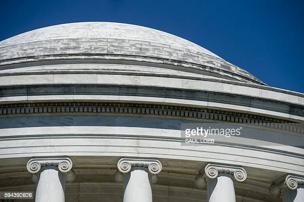 A black substance known as biofilm a group of bacteria fungi and algae covers the Jefferson Memorial in Washington DC August 23 as the National Park...