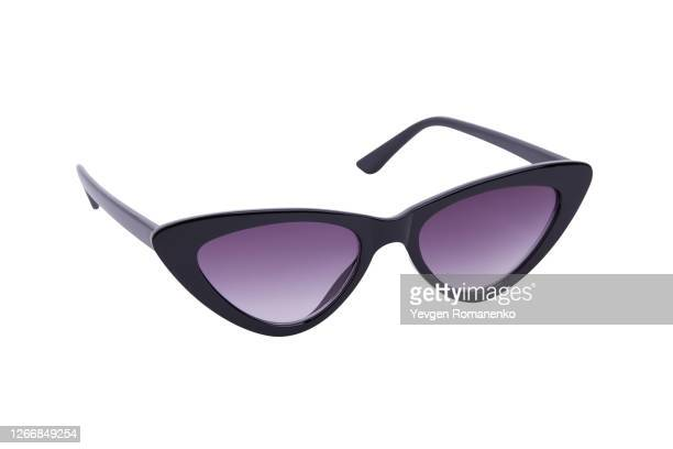 black sunglasses isolated on a white background - cat's eye glasses stock pictures, royalty-free photos & images