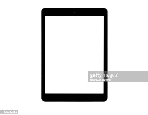 black tablet computer isolated on over white background - elektronische organiser stockfoto's en -beelden