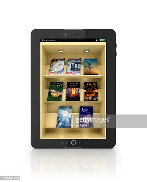 Black tablet showing a book store or library app with shelf