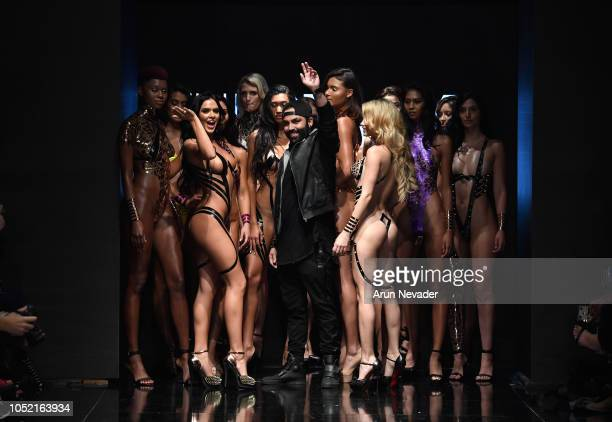 Black Tape Project designer Joel Alvarez on the runway with models at Los Angeles Fashion Week Powered by Art Hearts Fashion LAFW SS/19 at The...