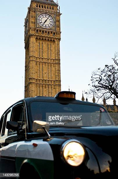 Black taxi cab in front of Big Ben