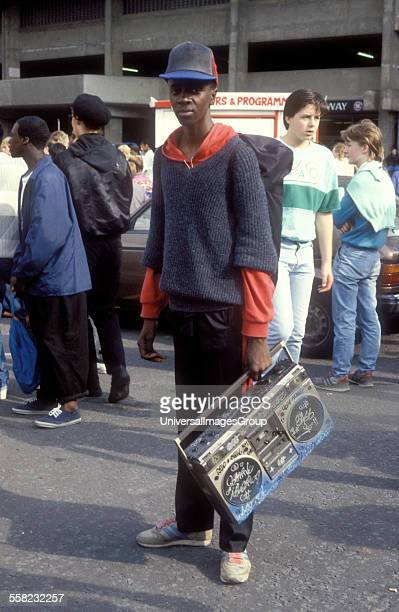 A black teenager with a customised ghetto blaster at UK Fresh Hip Hop event Wembley London UK 1986