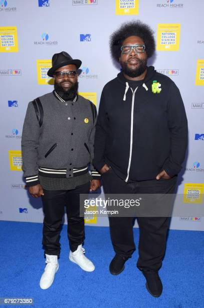 Black Thought and Questlove attend the MTV's 2017 College Signing Day With Michelle Obama at The Public Theater on May 5 2017 in New York City