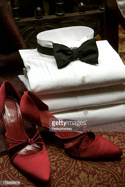 Black Tie Tuxedo Shirt and Red Satin Pumps Party Outfits