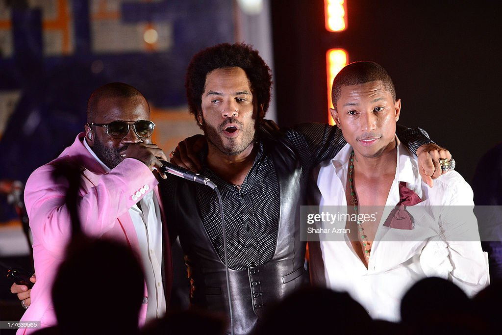Black Tought, Lenny Kravitz and Pharrell Williams perform at the 4th Annual Apollo In The Hamptons Benefit on August 24, 2013 in East Hampton, New York.