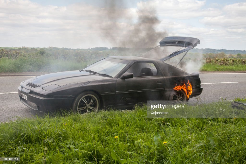Black Toyota Supra Turbo Car On Fire