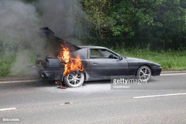 872b18a3430b Black Toyota Supra Turbo Car on Fire