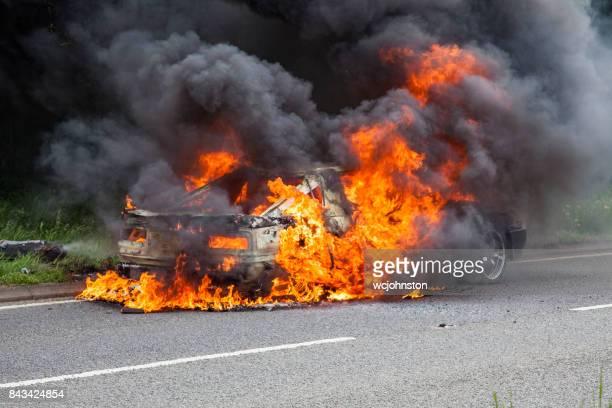 Black Toyota Turbo Car on Fire