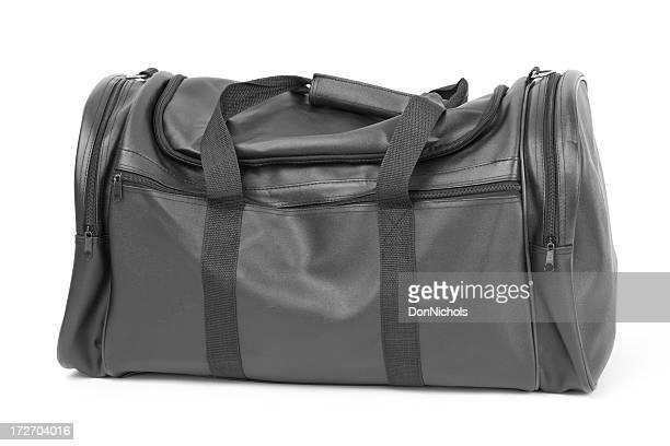 ブラックのトラベルバッグ、白で分離