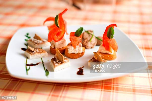 Black truffles Canaps. Restaurant. Il Tartufo. S. Sofia. Laconi. Oristano. Sardinia. Italy.