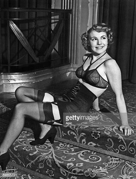 Black tulle bra and girdle England 1950