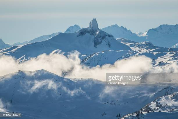 black tusk and surrounding mountain landscape - garibaldi park stock pictures, royalty-free photos & images