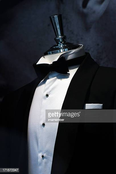 black tuxedo with white shirt and bow, copy space - white tuxedo stock pictures, royalty-free photos & images