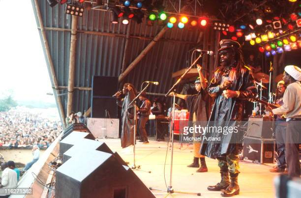 Black Uhuru and The Wailers perform on stage at Glastonbury Festival 21st June 1986