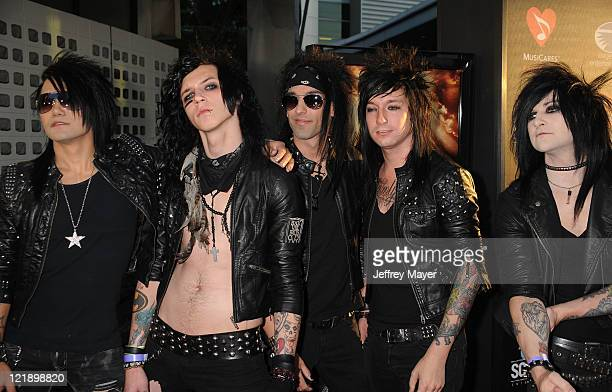 Black Veil Brides arrives at the Screening Of 'God Bless Ozzy Osbourne' To Benefit The Musicares Map Fund at the Arclight Cinemas Hollywood on August...