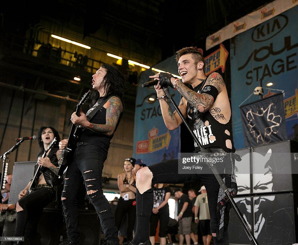 Black Veil Brides performs onstage during the 2013 Van Warped Tour at Riverbend Music Center on July 30, 2013 in Cincinnati, Ohio.